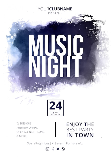 Modern music night poster with abstract splash Free Vector