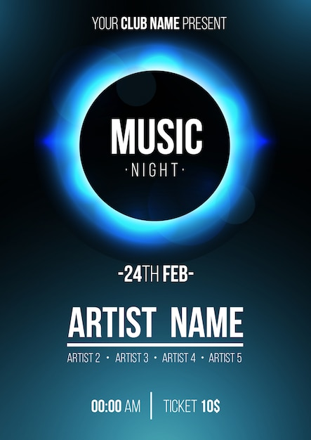 Modern music night poster with eclipse Free Vector