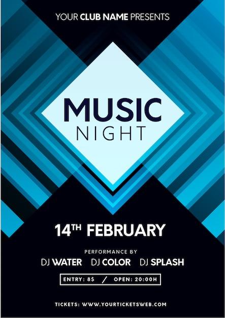 Modern music night poster Free Vector