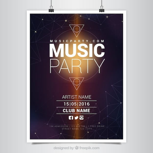 Modern music party poster with geometric shapes Free Vector