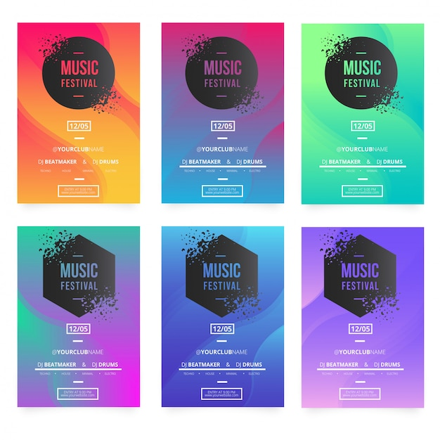 Modern music poster templates with broken banners Free Vector