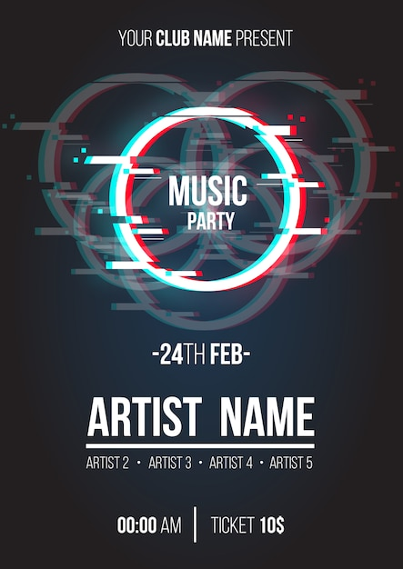 Modern music poster with glitch circle Free Vector