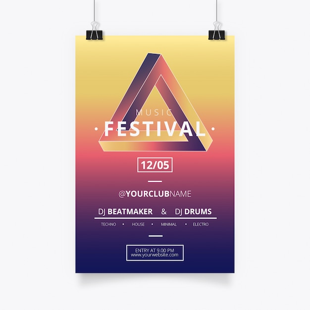 Modern music poster with penrose triangle Free Vector