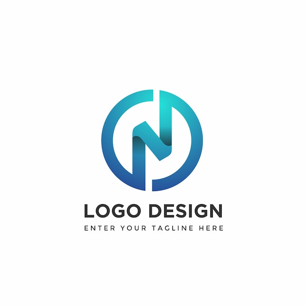 Modern n with circle logo design templates Premium Vector