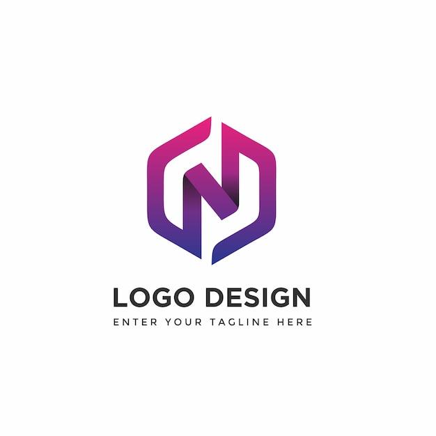 Modern n with hexagon logo design templates Premium Vector