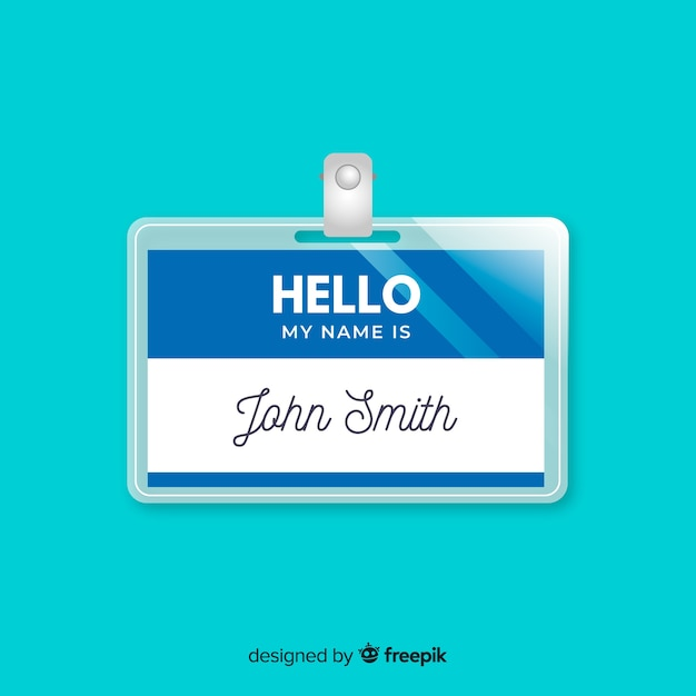 Modern name tag template with realistic design Vector | Free Download