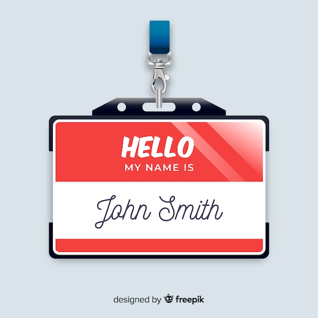 Modern name tag template with realistic design Vector | Free