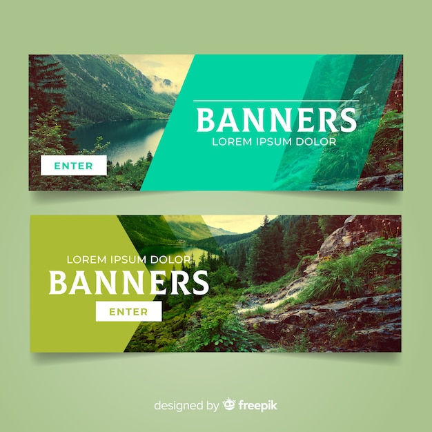 Modern nature banners with photo Free Vector