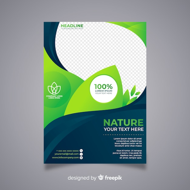 Modern nature flyer template with flat design Free Vector