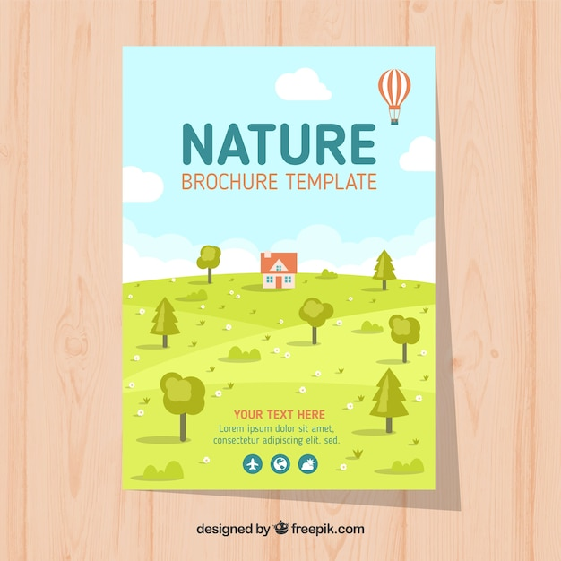 Modern nature flyer template with lovely landscape Vector   Free ...