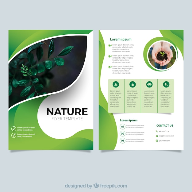 Modern nature flyer template Free Vector
