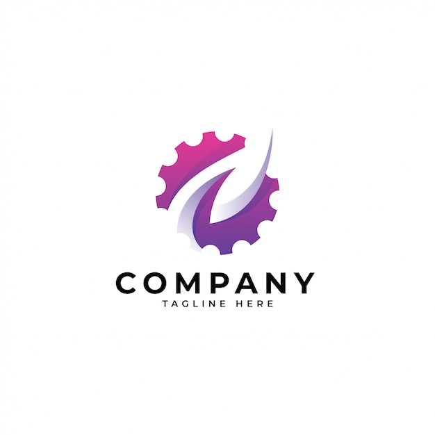 Modern nature leaf and gear technology logo Premium Vector