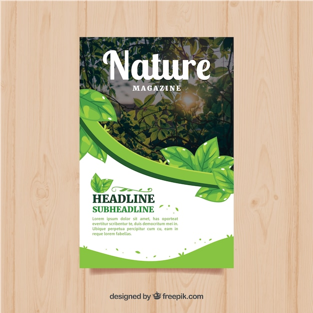 Modern nature magazine cover template with photo Free Vector