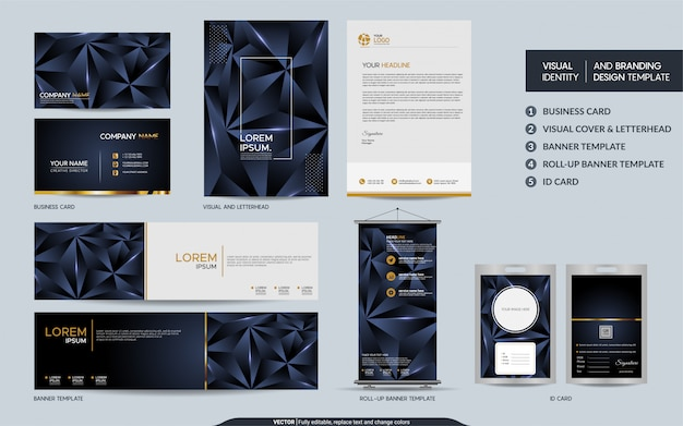 Modern navy blue polygonal stationery mock up set and visual brand identity with abstract overlap layers Premium Vector