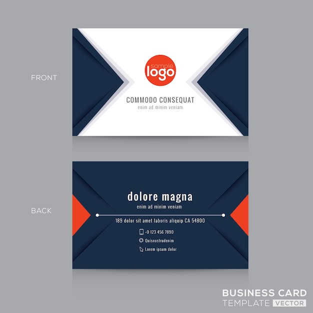Modern navy blue triangle business card Free Vector
