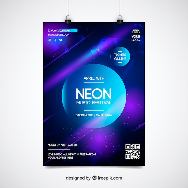 Modern neon party poster template Free Vector