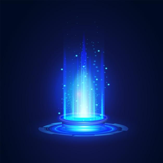 現代のネットワーク科学技術未来の要約、ポータルおよびホログラムの未来的な円要素。イラストデザインテンプレート Premiumベクター