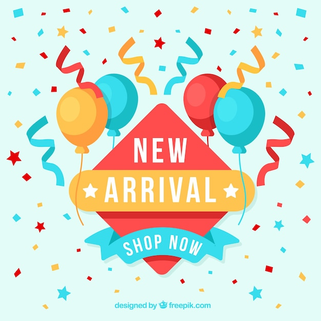 Modern new arrival background with confetti elements Free Vector