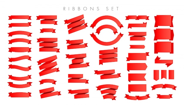 Modern new gradient red ribbons isolated Premium Vector