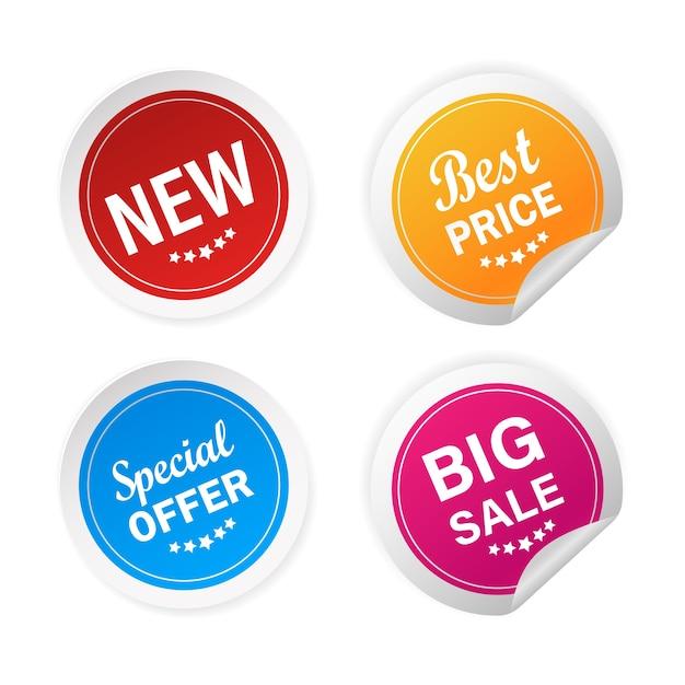모든 목적에 적합한 현대적인 새롭고 특별한 제안 및 큰 판매 스티커. 삽화. 프리미엄 벡터