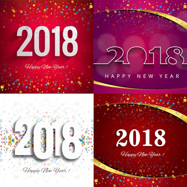Modern new year 2018 background set