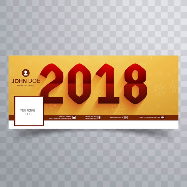 modern new year 2018 facebook banner premium vector