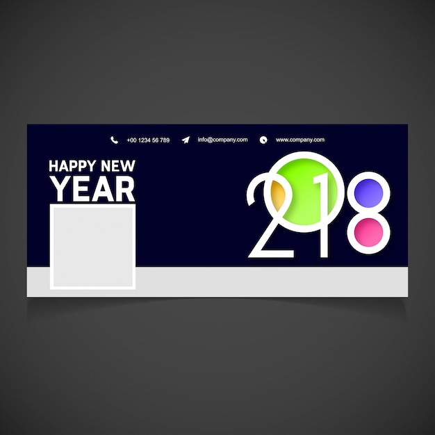 Modern new year 2018 facebook cover