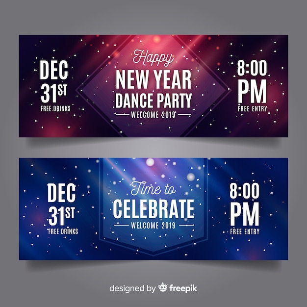 Modern new year 2019 banners Free Vector