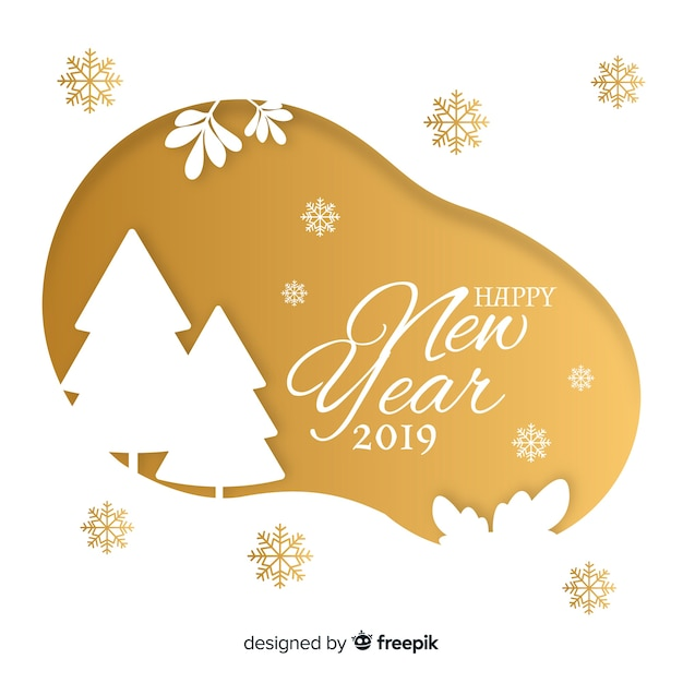 modern new year 2019 composition with flat design free vector