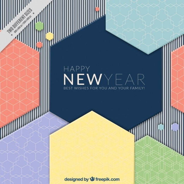 Modern new year background with geometric shapes