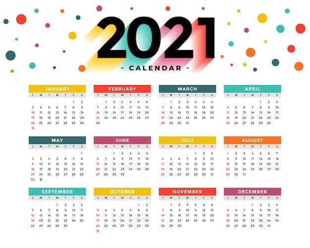 Modern  new year calendar  template Free Vector