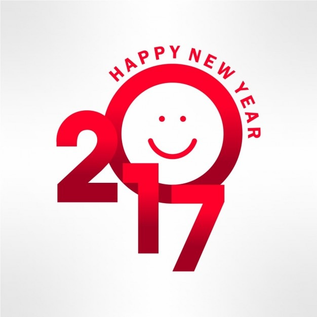 Modern new year card with a smile Free Vector