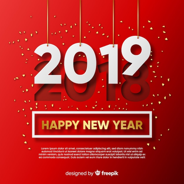 Modern new year composition with elegant style Free Vector