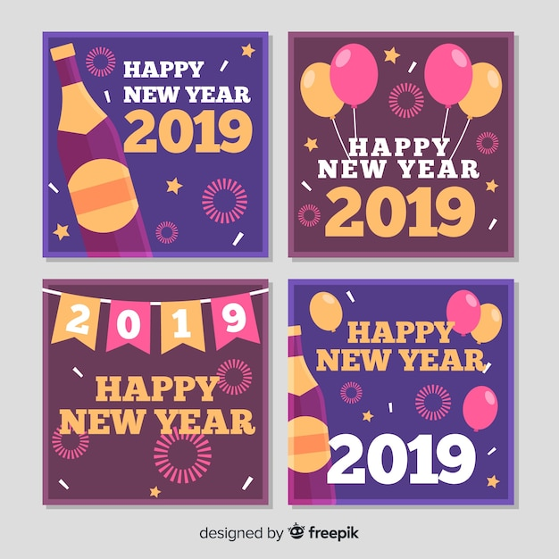 modern new year party card collection free vector