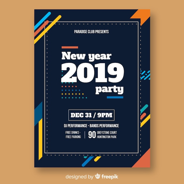 Modern new year party poster with abstract design Free Vector