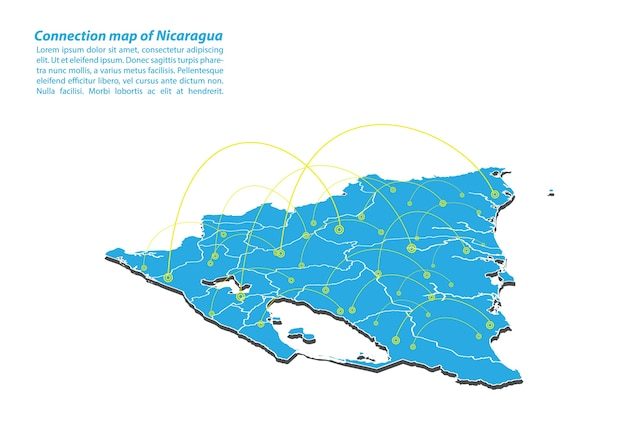 Modern of nicaragua map connections network design Premium Vector