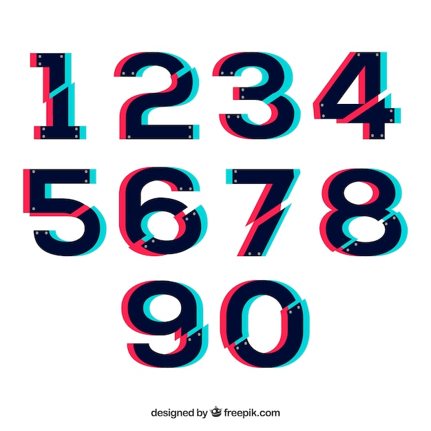 Modern number collection Free Vector