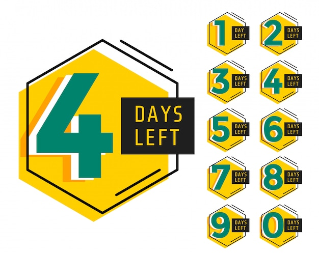 Modern number of days left countdown timer Free Vector