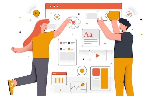 モダンなwebデザイン。若い男性と女性が一緒にプロジェクトに取り組んでいます。事務および時間管理。編集とカスタマイズが簡単。図 Premiumベクター
