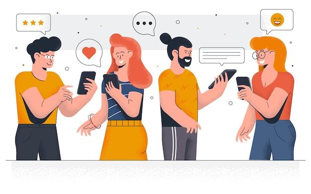 Современные молодых людей в чате на смартфонах. счастливые мальчики и девочки, общение и обмен сообщениями в социальных сетях. легко редактировать и настраивать. иллюстрация Premium векторы