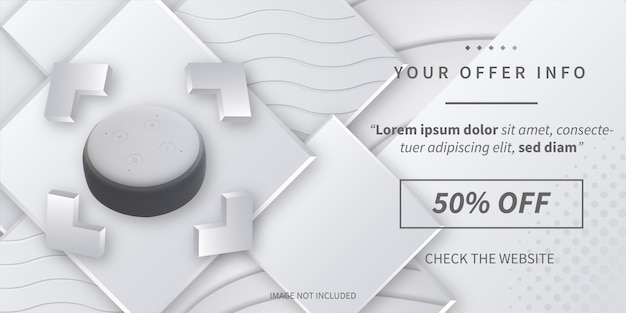Modern offer info sale with abstract 3d background Free Vector