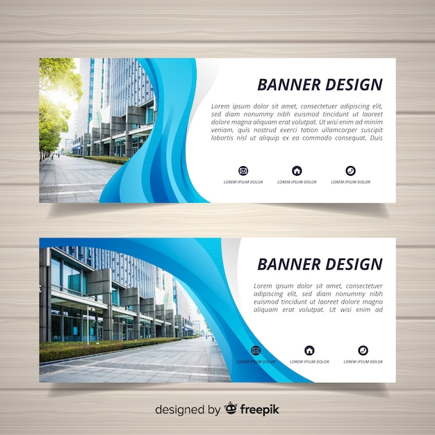 Modern office building banners with photo Free Vector