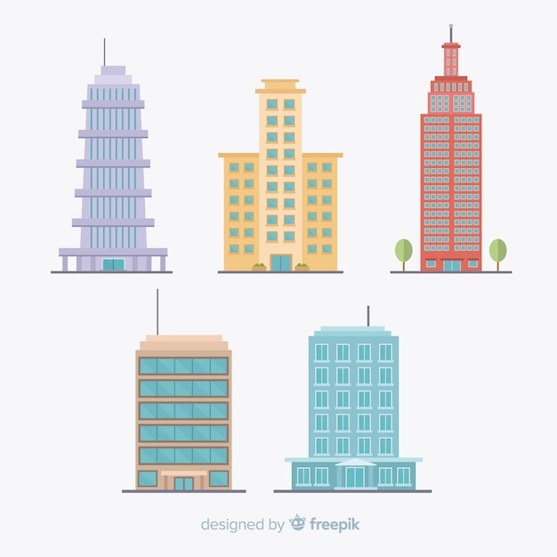 Modern office building collection with flat design Free Vector