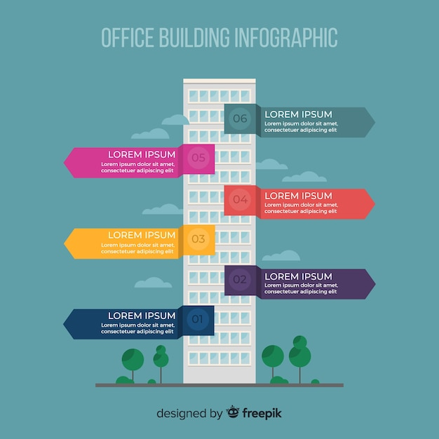 Modern office building infographic with flat design Free Vector