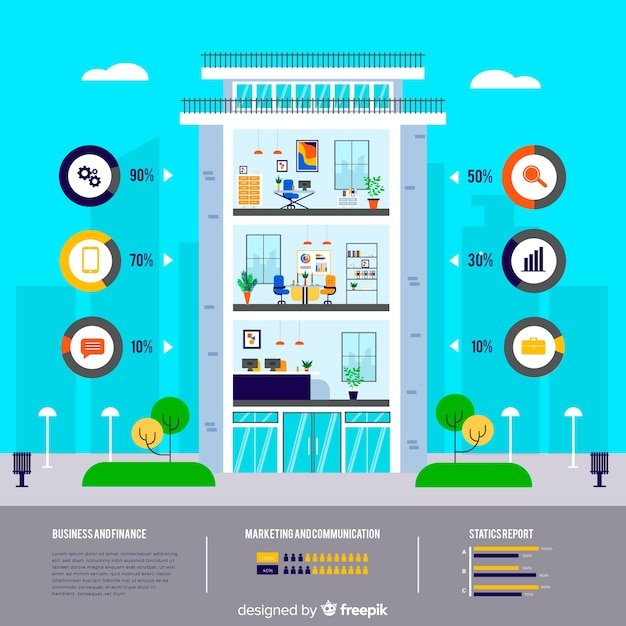 Building Design Software Freeware: Modern Office Building Infographic With Flat Design