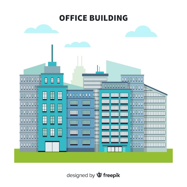 Modern Office Buildings Composition With Flat Design Vector Free