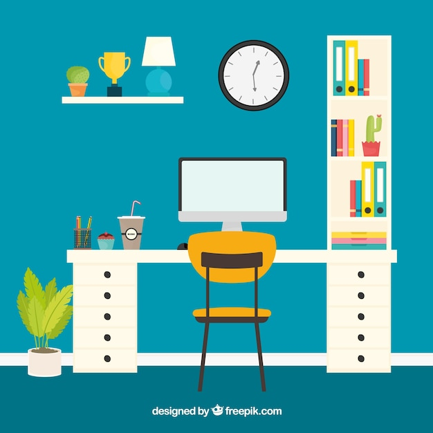 Modern office desk with cute style