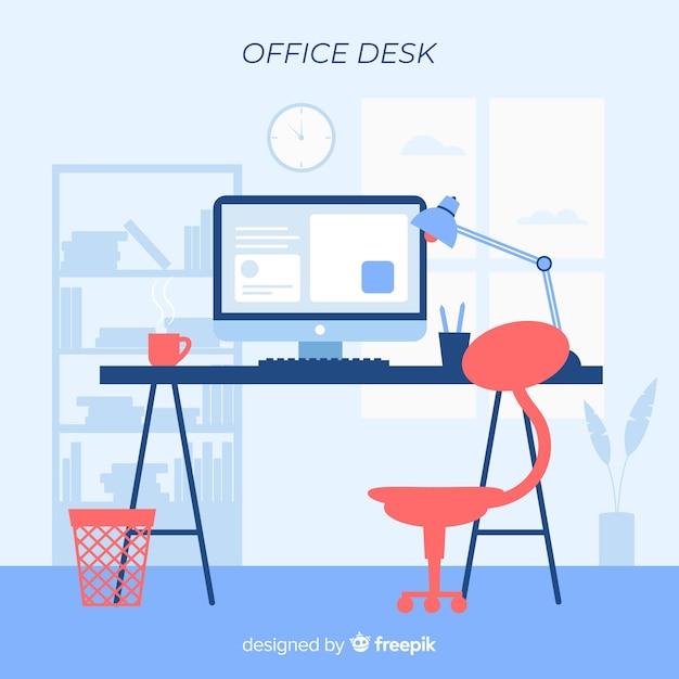 평면 디자인의 현대적인 사무실 책상 프리미엄 벡터
