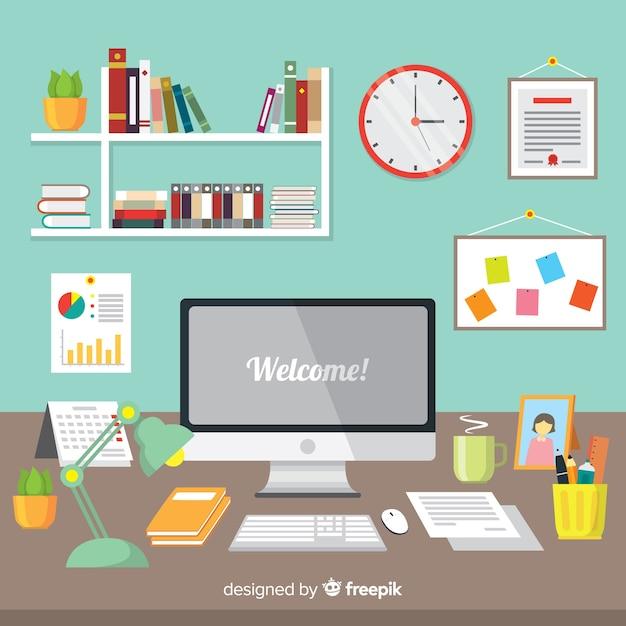 Premium Vector Modern Office Desk With Flat Design