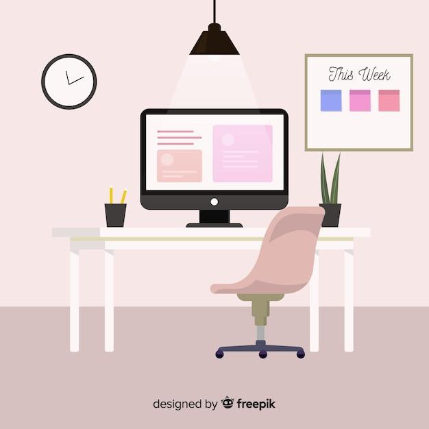 Современный офисный стол с плоским дизайном Premium векторы